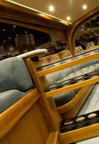 Teak wine rack in a yacht